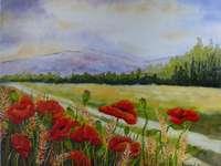 ζωγραφική, λουλούδια, βουνά, λιβάδι - ζωγραφική, λουλούδια, βουνά, λιβάδι