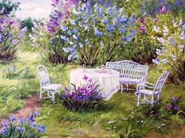 obrazek  malowany - herbatka w ogrodzie i kwiaty