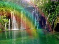 regenboog waterval, rotsen