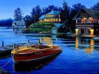 domki nad jeziorem,zachód
