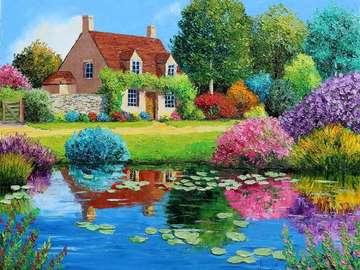 picture painted - dom w kolorowym ogrodzie