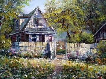 immagine dipinta - stary drewniany dom w ogrodzie