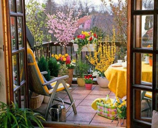 varanda, cadeira, paisagem