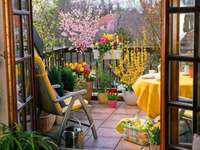 balcon, chaise, paysage