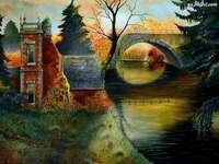 ποτάμι, το φθινόπωρο, γέφυρα, σπίτι