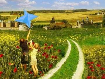 meadow, children, kite flying - łąka,dzieci,latawiec,drzewo