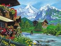 σπίτια, βουνά, ποτάμι, γέφυρα - σπίτια, βουνά, ποτάμι, γέφυρα