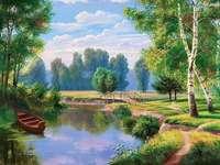 άνοιξη, λίμνη, βάρκα, δέντρο