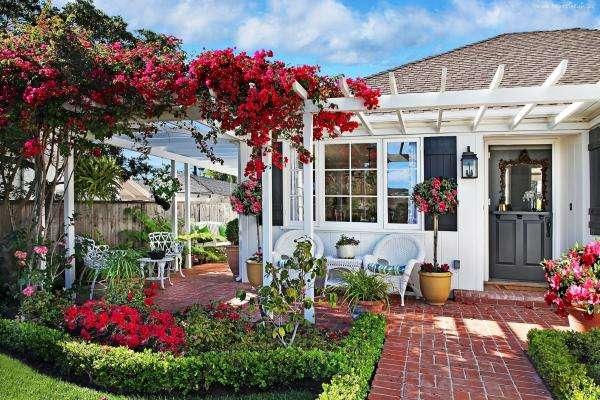 maison, jardin, fleurs, chaise - dom, ogródek, kwiaty, fotelé (10×10)