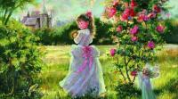 girl next to bushes, meadow