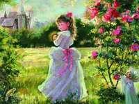 girl next to bushes, meadow - dziewczynka obok krzewów,łąka