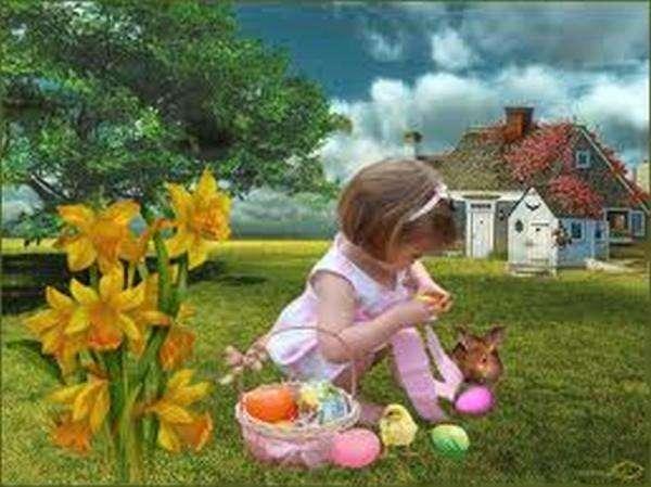dziewczynka,królik,kwiaty,