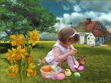 girl, rabbit, flowers,