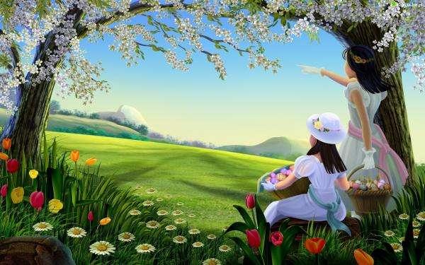 Velikonoční, holčiček, kraslice