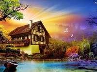 maison, étang, rayons, arbres