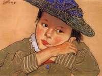 Fată în pălărie albastră