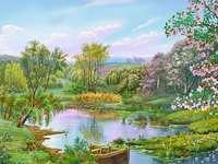 pružina, jezero, louka, stromy
