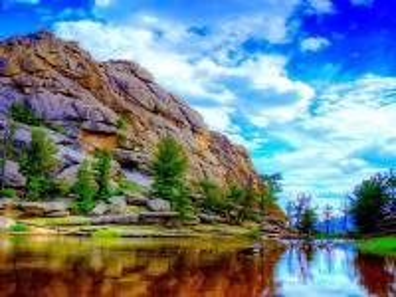 rock, sea, trees - skała,morze,drzewa,niebo