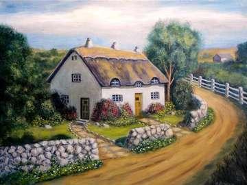 English village, stone wall