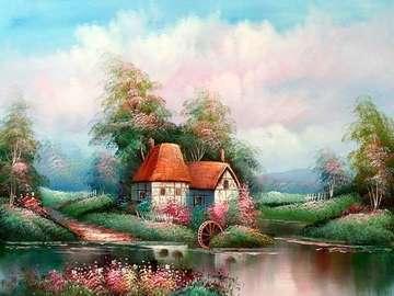 μύλο, δέντρα, σύννεφα, ποτάμι