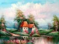 molen, bomen, wolken, rivier