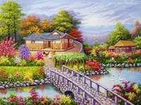 rivière, pont, maisons, jardin