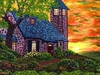 huis, tuin, toren, bloemen - huis, tuin, toren, bloemen