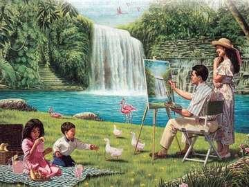picnic, family, painter, water - piknik,rodzina,malarz,wodospad