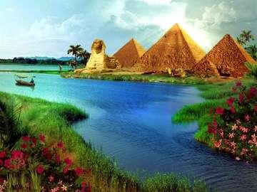 river, pyramids, sphinx, boat - rzeka,piramidy,sfinks,łódka