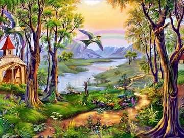 fantasy cottage, trees, bird - fantazja domek,drzewa,ptak