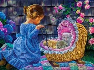 Dziewczynka z kotkami - Dziewczynka z kotkami w wózku