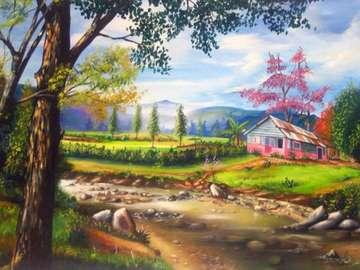 house, trees, river, widoczek - domek,drzewa,rzeka,widoczek