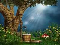 árvore de fantasia com aqueduto