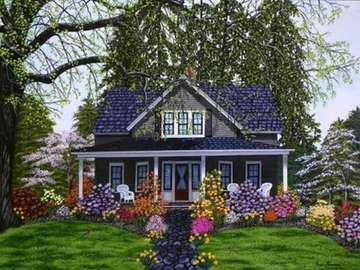 casa blu nel giardino