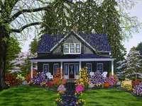 casa blu nel giardino - niebieski dom w ogrodzie, grządki kwiatów