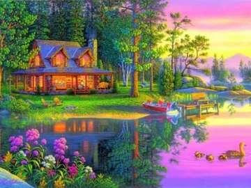 Haus im Wald in der Naehe des  - dom w lesie nad stawem