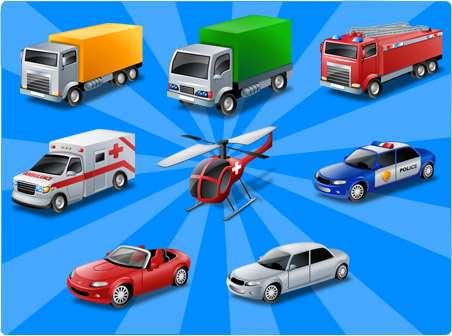 přeprava - Uspořádejte sadu vozidel (3×3)