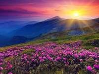 montañas, puesta de sol, rodod