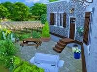 huis, terras, tuin, bloemen - huis, terras, tuin, bloemen