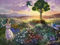 girl, dog, tree, meadow