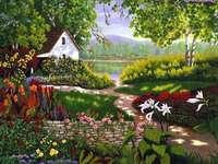 κήπο, το σπίτι, τα λουλούδια, λιμνούλα - κήπος, σπίτι, λουλούδια, λίμνη