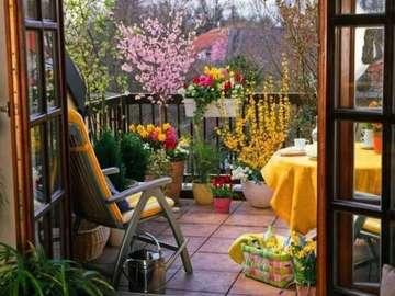 balcony in flowers - balkon w kwiatach, fotel