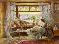 reading a lady by the window