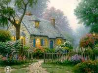 målad bild - målade hus bakom staketet