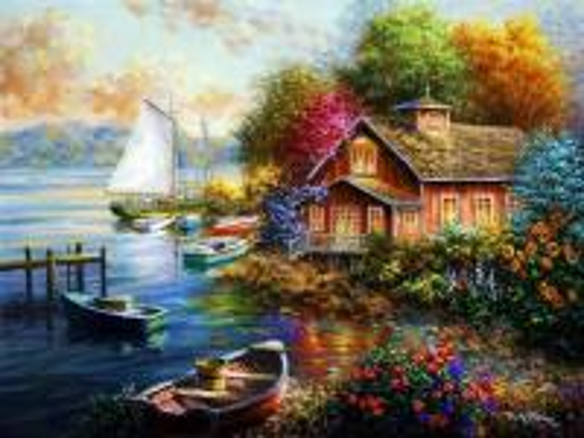 port de plaisance, chalet, fle - przystań, domek, kwiaty, łódki