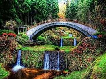 мост над каскадата, гора - мост над каскадата, гора