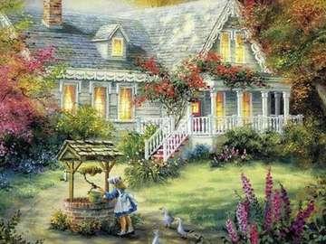 la maison, fille au puits - dom, dziewczynka przy studni