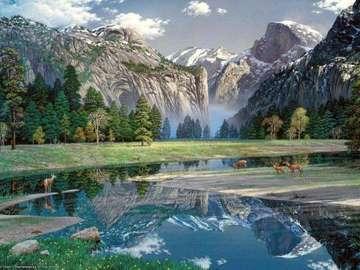 bergslandskap, djur - bergslandskap, djur vid bäcken
