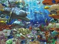 färgglada havsbor - längst ner i havet - färgglad fisk