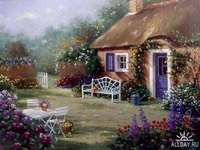 una fattoria con una casa